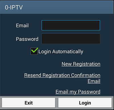 new login or registration screen